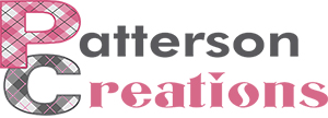 The words Patterson Creations in gray and pink, with a plaid pattern in the first letter of each word